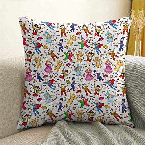 - FreeKite Kids Silky Pillowcase Native American Pirate Princes Cat Costume Wearing Children Pattern Colorful Abstract Super Soft and Luxurious Pillowcase W24 x L24 Inch Multicolor