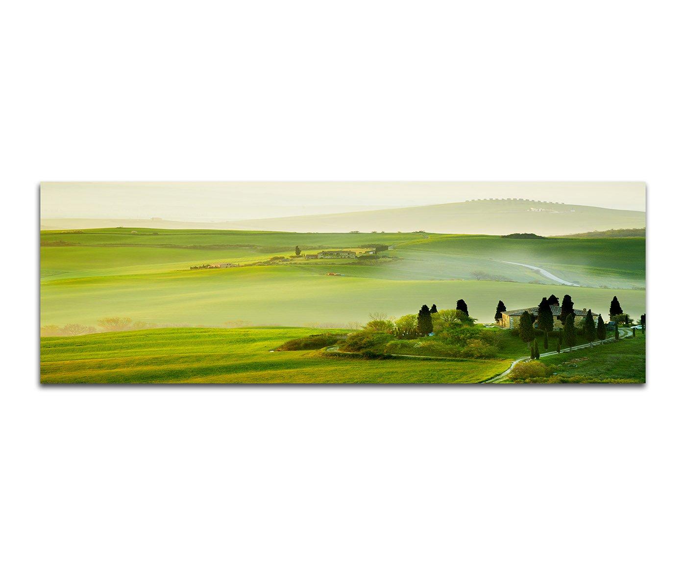 Morgen in der Toskana grüne Landschaften 150x50cm Panoramabilder auf Leinwand und Keilrahmen Wandbild auf Leinwand und Keilrahmen fertig zum aufhängen - Unsere Bilder auf Leinwand bestechen durch ihre ungewöhnlichen Formate und den extrem de