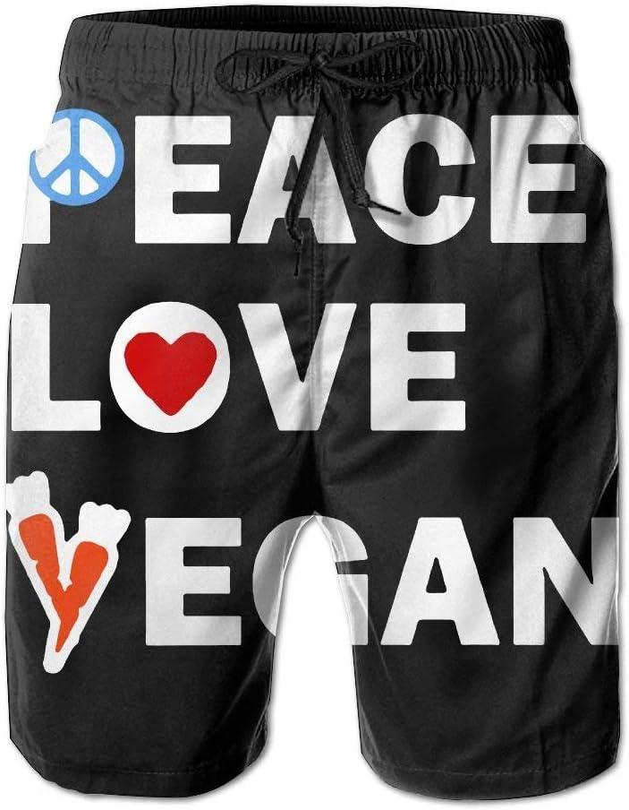 Peace Love Vegan Carrot Mens Summer Beach Shorts Board Shorts with Pockets