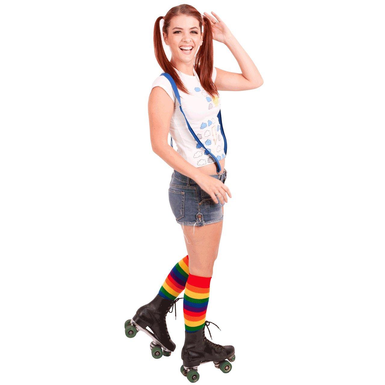 c639a5c33ef50 Chrissy's Socks Women's Rainbow Knee High Socks 7-11 Red / Orange / Yellow  at Amazon Women's Clothing store: