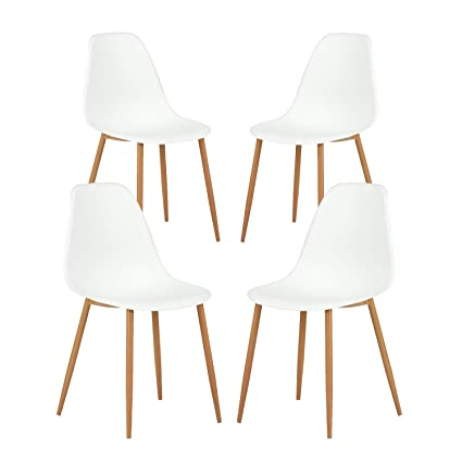 Amazon.com - GreenForest Dining Chairs Set of 4 Mid Century Modern Plastic Seat and Back Kitchen Room Chairs with Metal u0026 Wood Legs White - Chairs  sc 1 st  Amazon.com & Amazon.com - GreenForest Dining Chairs Set of 4 Mid Century Modern ...