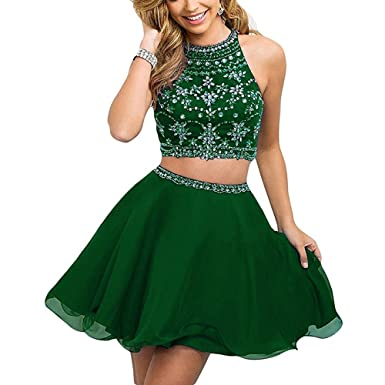 HEAR Women s Two Piece Prom Homecoming Dresses Chiffon Short Rhinestone  Beaded Mini Dress WWW666 Dark Green 28c127dffc50