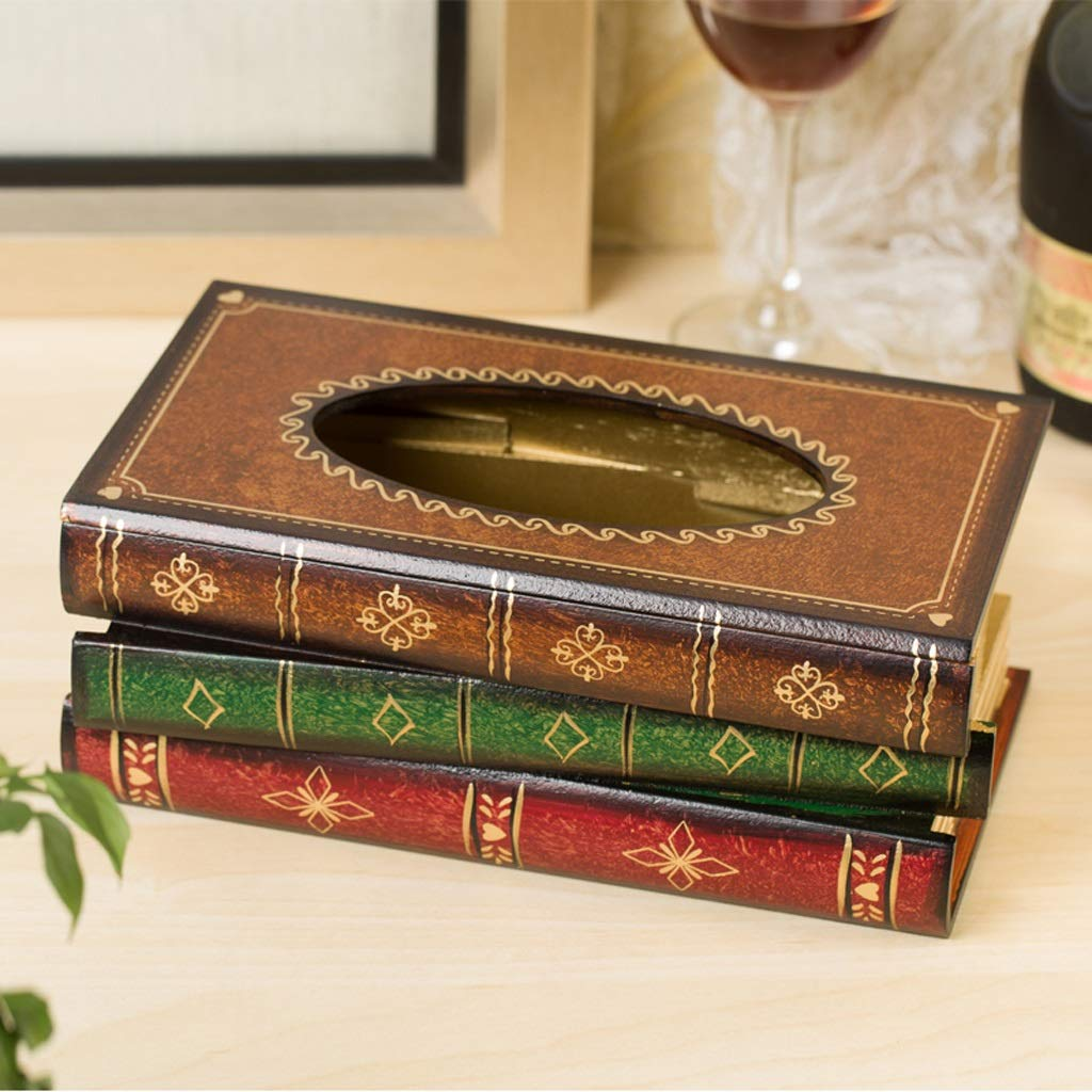 UCYG Wooden Tissue Box Paper Towel Holder Classical Desktop Decoration Napkin Container Kitchen Living Room Tissue Box (Color:Blue, Brown, Red), 2615.510.5cm (Color : Brown) by UCYG