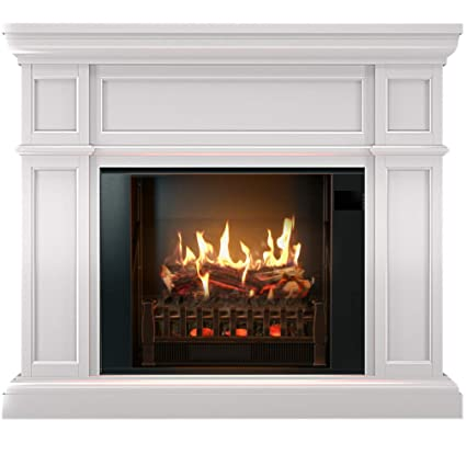 amazon com magikflame electric fireplace and mantel artemis white rh amazon com buy fake fireplace logs
