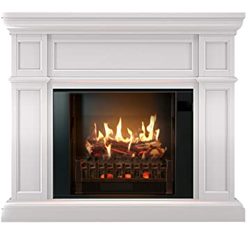 Amazoncom Magikflame Electric Fireplace And Mantel Artemis White