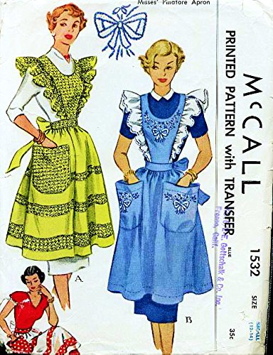 (McCall's 1532 Vintage Sewing Pattern, Misses' Pinafore Apron, Check listing for Size)