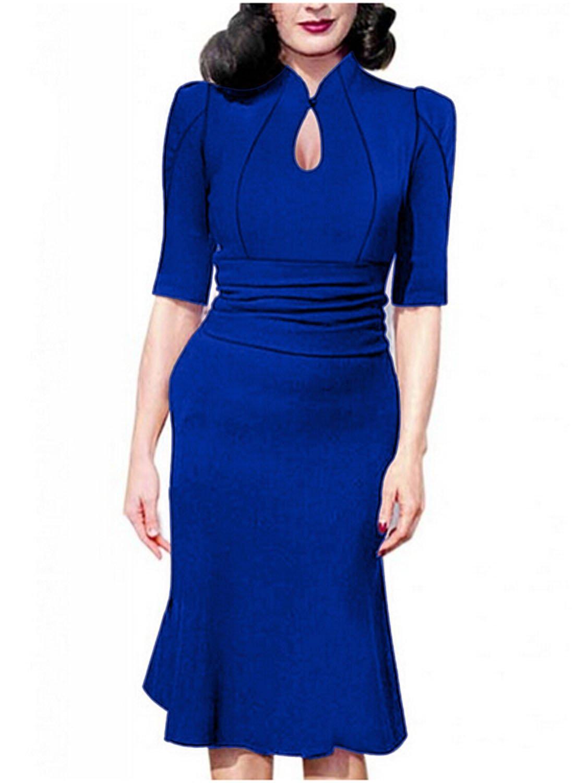 Destinas Women's Vintage Style Retro 1940s Shirtwaist Flared Tea Dress (M, Blue)