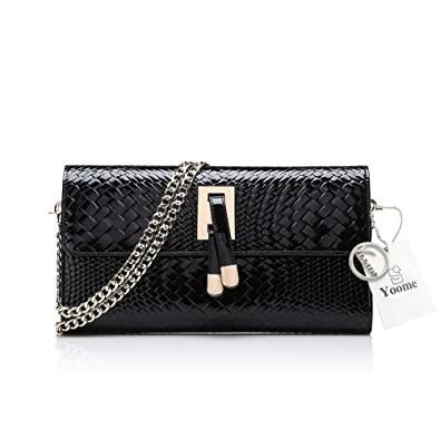 ff80e2e7b8 Yoome Women s Patent Leather Purse Crocodile Pattern Clutch for Ladies  Chain Shoulder Bags Woven Bags for