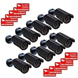 VideoSecu CCTV Fake Security Cameras Dummy IR Infrared LED Light Fake Bullet Surveillance Camera 10 Pack with Free Warning Decals CNF