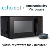 AmazonBasics 0.7 Cu. Ft Voice-Controlled Microwave ) + Echo Dot (3rd Gen)