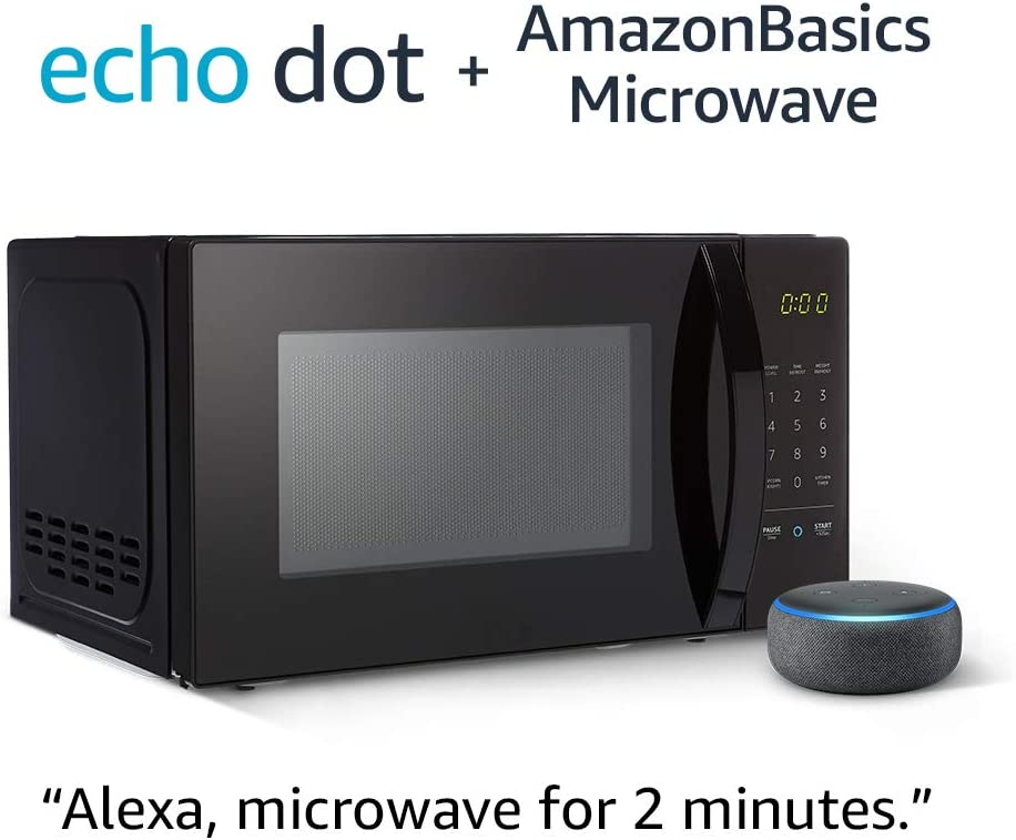 AmazonBasics Microwave bundle with Echo Dot (3rd Gen) - Charcoal