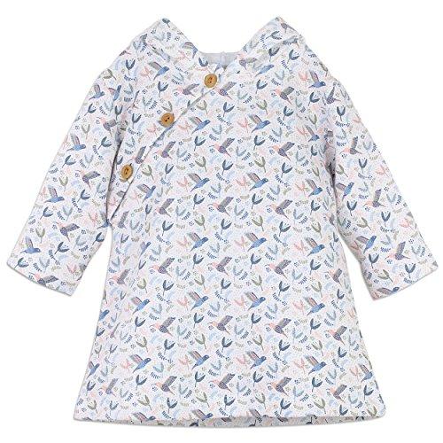 Feather Baby Little Girls Pima Cotton Long Sleeve Winter Weight Hoodie Dress Baby Jacket, Size 18-24M, Hummingbird