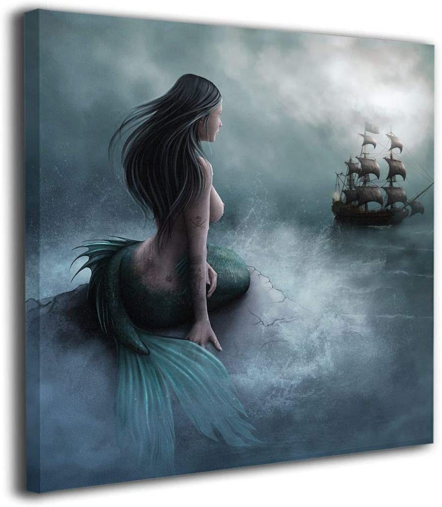 "Art-logo 20""x20"" Mermaid and The Sailing Pirate Ship Fantasy Modern Canvas Prints Pictures Painting Home Decoration Wall Decor Ready to Hang"