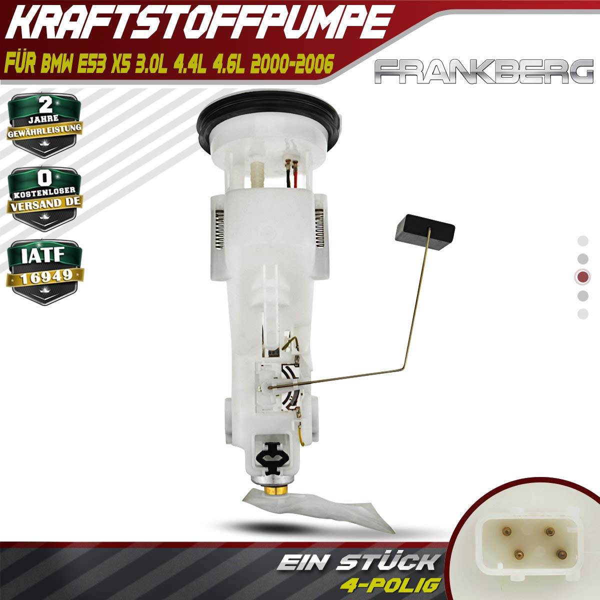 Kraftstoffpumpe F/ördereinheit Benzinpumpe f/ür X5 E53 3.0L 4.4L 4.6L 2000-2006 16116753898
