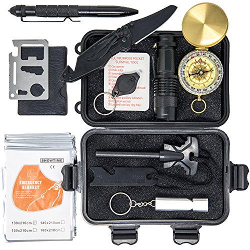 Premium Survival Kit - Best Gifts for Men and Boys, Car Accessories, EDC, Hunting & Camping Accessories, Survival Gear | Over 30 USES | Flashlight, Blanket, Knife, Fire Starter for Hiking & Fishing