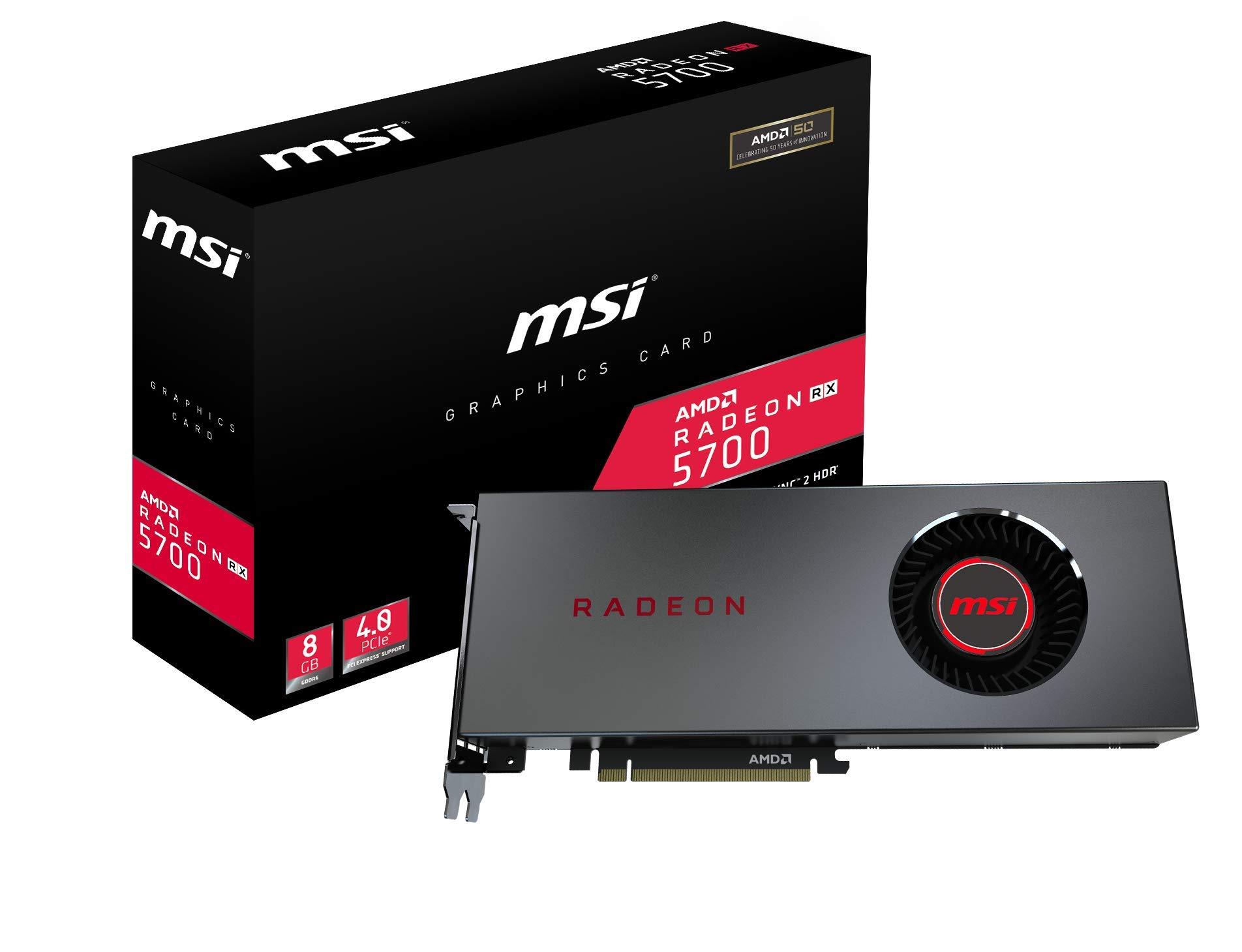 MSI Gaming Radeon RX 5700 256-bit HDMI/DP 8GB GDRR6 HDCP Support DirectX 12 Single Fan VR Ready OC Navi Architecture Graphics Card (Radeon RX 5700 8G) by MSI