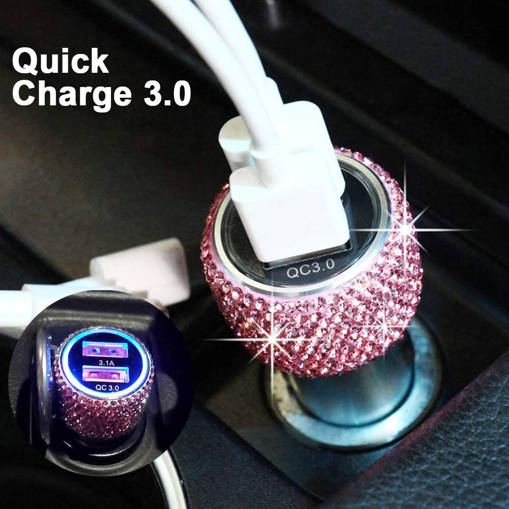 Nexus 6P//5X,LG,Nexus Bling Dual USB Car Charger Quick Charge 3.0 Crystal Car Decorations Fast Charging Adapter Women Cute Car Accessories for iPhone Samsung Galaxy S10//S9//S8//S7//S7 Edge//S6//Edge Pink
