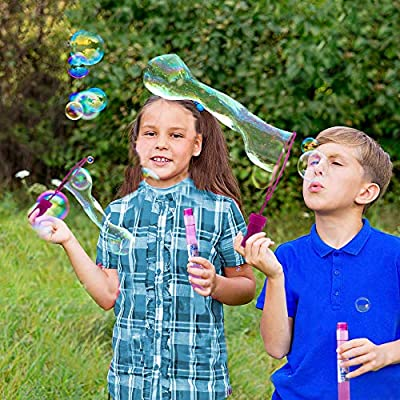BubblePlay 12 Pack Big Bubble Wands - Kids Fun Bulk Party Favors Bubble Blowing Wands for Summer Outdoor/Indoor Activity Use, Bubbles Party Favors for Kids Ages 3+: Toys & Games