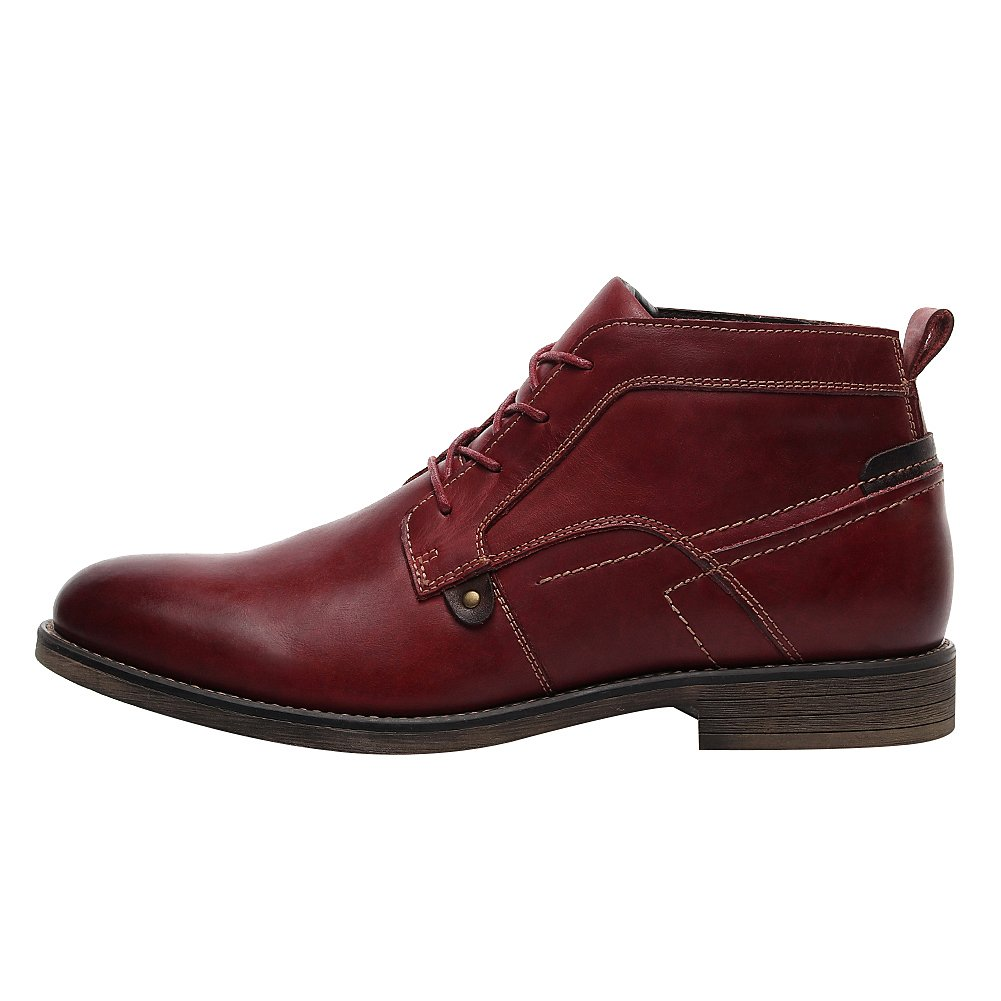 rismart Men's Ankle High Round Toe Popular Leather Chukka Boots SN01801(Mahogany,us8.5) by rismart (Image #2)