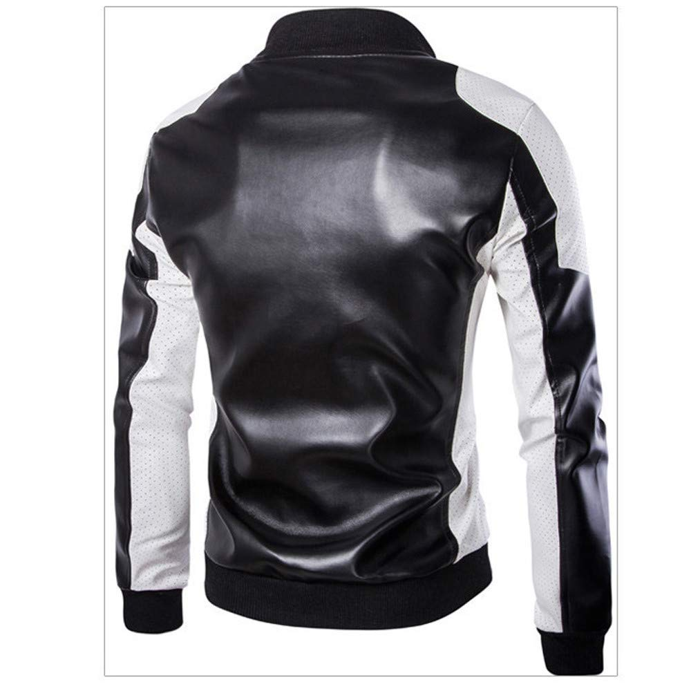 Sumen Men Casual Long Sleeve Stand Collar Patchwork Leather Jackets Coat