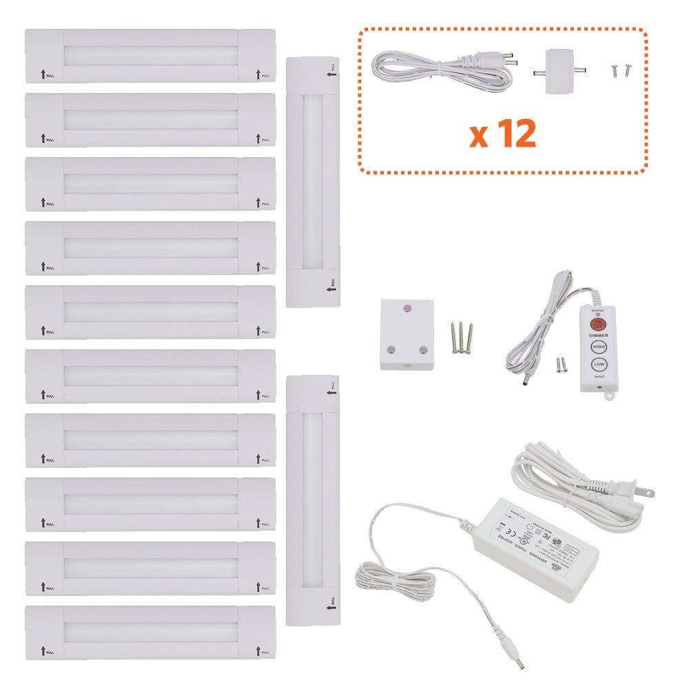 Lightkiwi X8546 Lilium 6 Inch Cool White Modular LED Under Cabinet Lighting - Pro Kit (12 Panels)