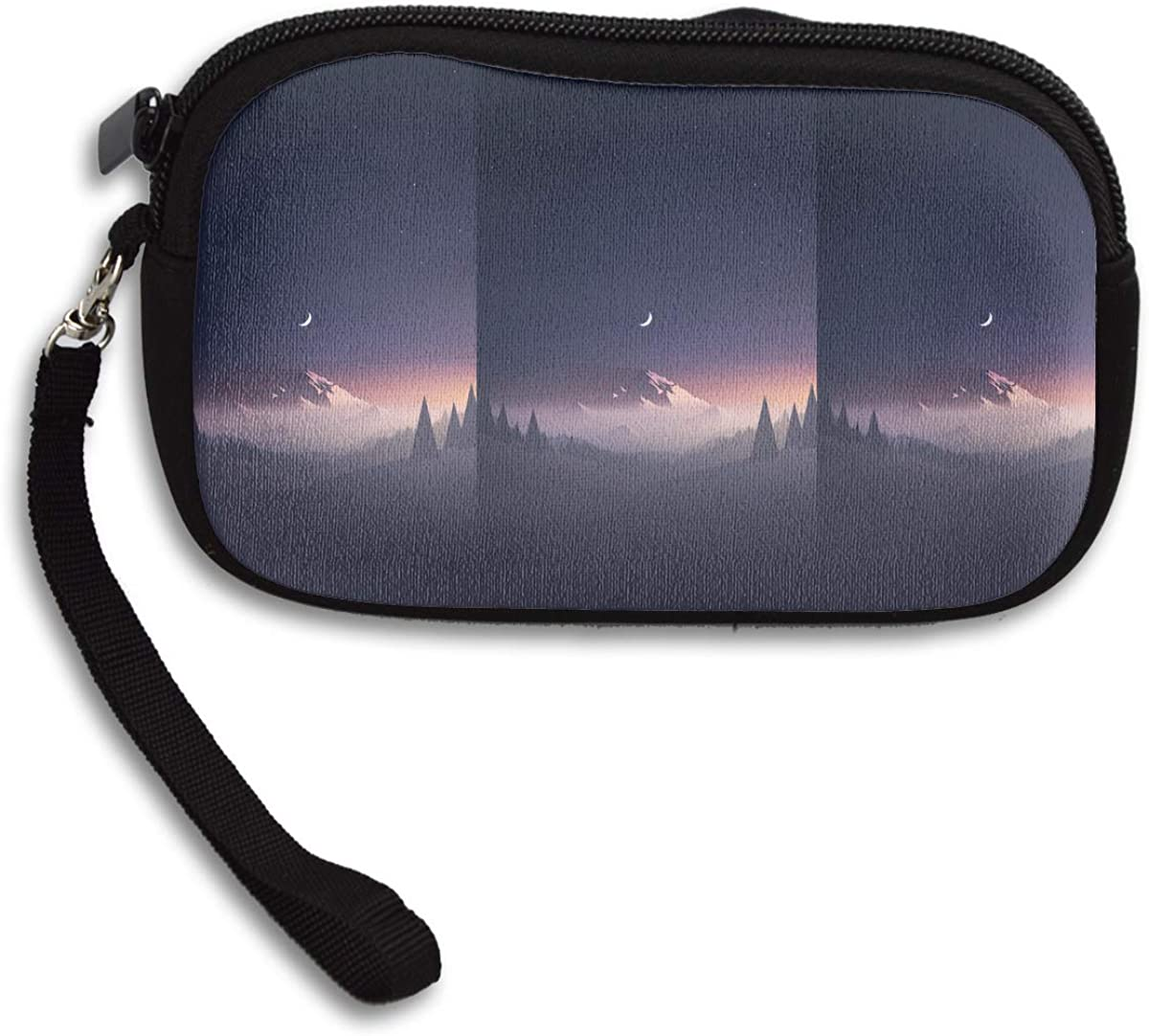 Digital Art Nature Mountains Portrait Display Moon Stars Night Mist Trees Forest Minimalism Hills Clear Sky Starry Night Deluxe Printing Small Purse Portable Receiving Bag