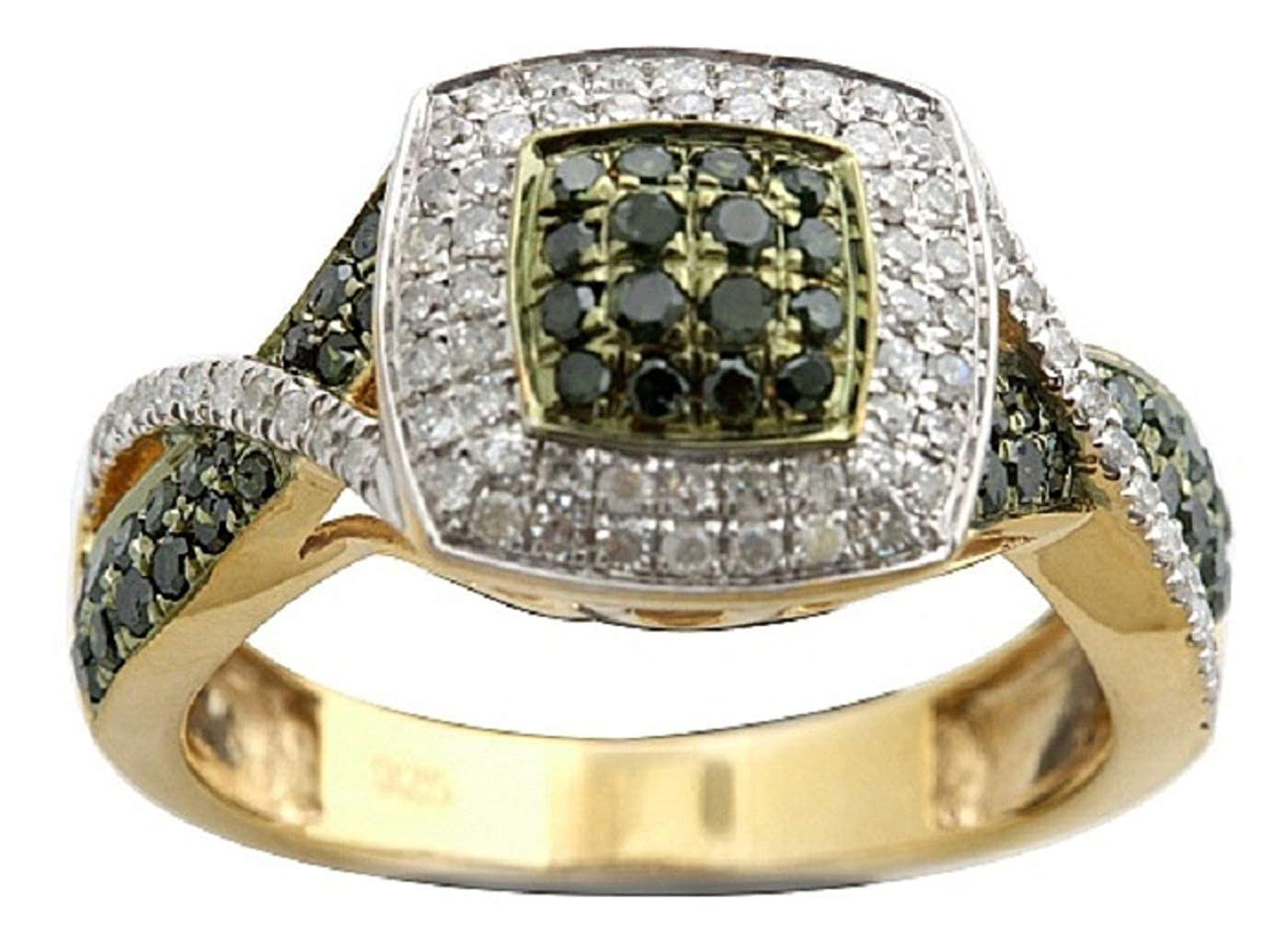 Prism Jewel 0.77 TCW Round Green Diamond With Diamond Engagement Ring