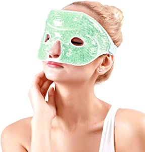 NEWGOFace Ice Mask Cooling Eye Mask Gel Freezer Mask for Puffy Eyes Reusable Face Ice Pack for Migraines, Puffy Eyes, Spa - Green