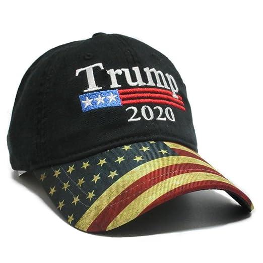 da9ca0a08e4 Trump Black Cap US Flag Keep America Great hat President 2020 at Amazon  Men s Clothing store