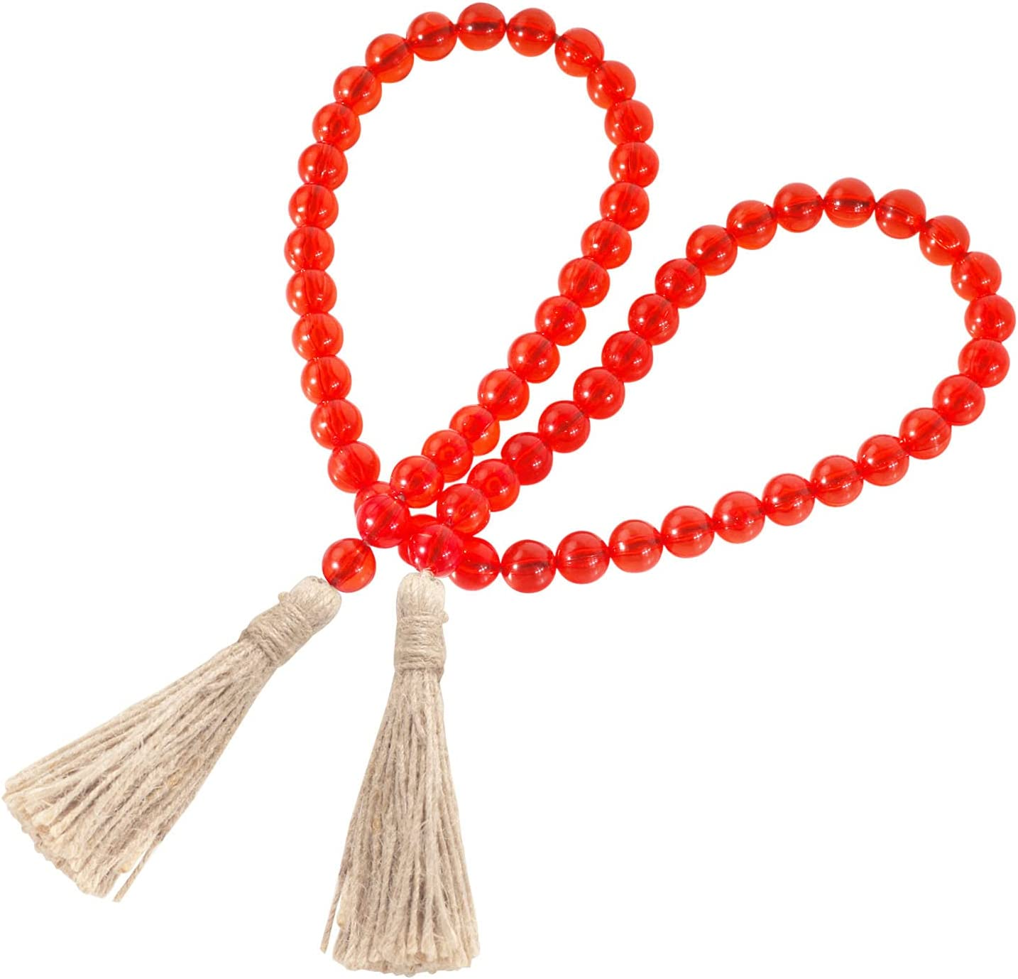 Panba Farmhouse Beads with Tassel Bead Garland Boho Wall Decor for Party Garland and Rustic Home, Tier Tray Coffee Table Decor Beads Handmade Easter Decoration Christmas Ornament (Red)