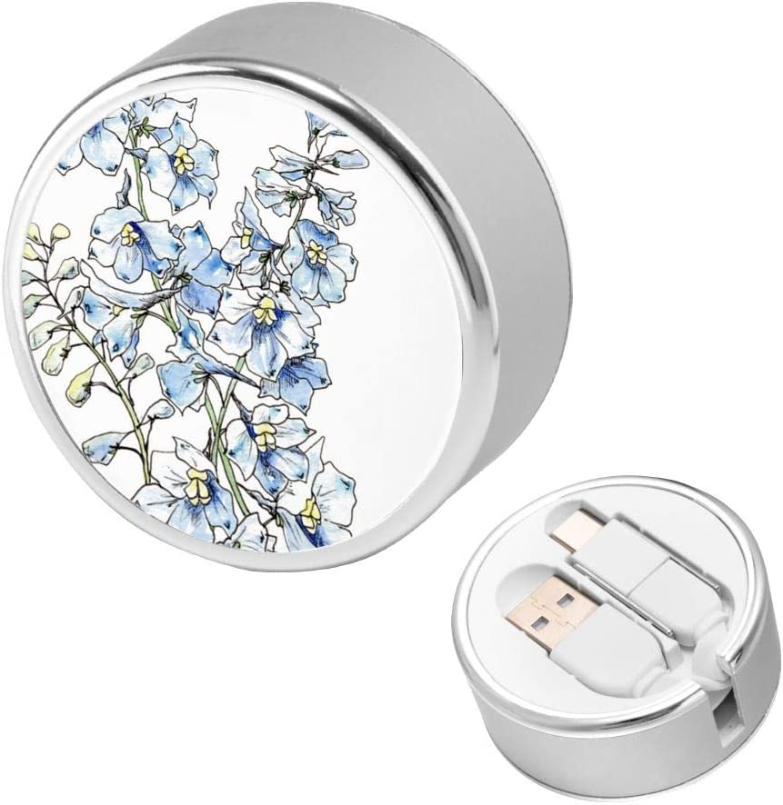 Multi Quick USB Charging Cable,Blue Delphinium Flowers 2 in1 Fast Charger Cord Connector High Speed Durable Charging Cord Compatible with iPhone//Tablets//Samsung Galaxy//iPad and More