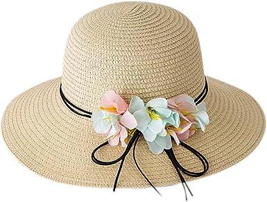 Bienvenu Girl Kids Sun Hat Summer Wide Brim Floppy Beach Sun Visor Hat with Flowers