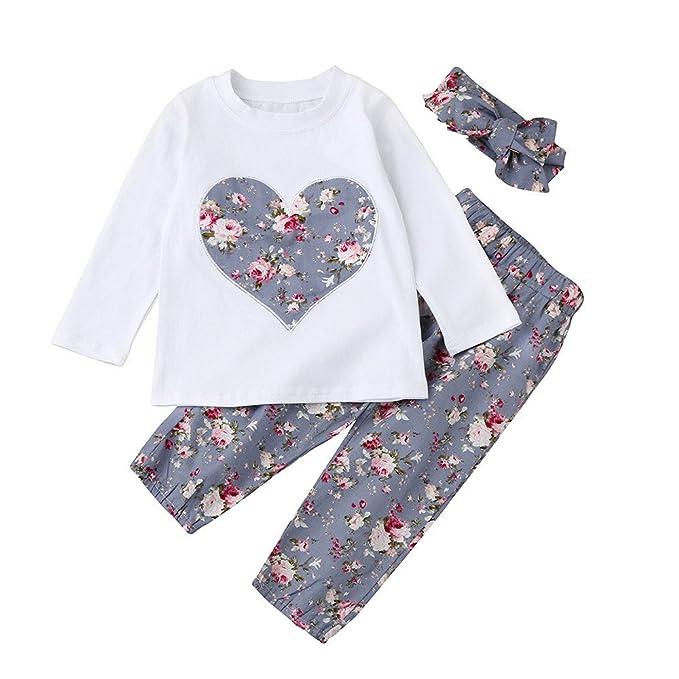 Conjunto de Ropa para bebé, Subfamilia Top 3PCS Baby Girl Heart Monkey + Conjunto de Ropa con Vendaje Floral de 6 a 24 Meses