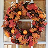 Montpelier Silk Fall Door Wreath 22 Inches - Extremely Full Autumn Wreath For Harvest Front Door Decor, All Weather Outdoor Wreath That Lasts For Years, With Beautiful White Gift Box.