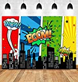 Superhero Super City Photography Backdrop Skyline Buildings Kids Boys Happy Birthday Party Banner Supplies Baby Shower Background Photo Studio Props 5x3ft Vinyl