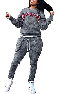 Survetement Sport Femme Sweat Et Pantalon 2 Pièces Hiver Automne Spécial  Style Set Fashion Mouvement Fitness… dabad57035a