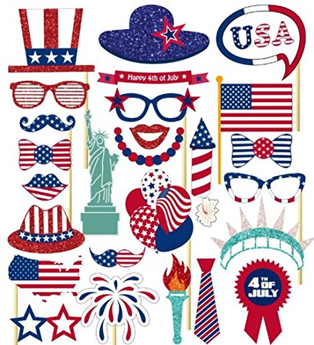4th of July Photo Booth Props, 26Pcs DIY Party Favor Kits for Independence Day Photobooth Dress-up Party Decorations