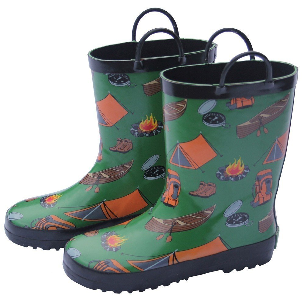 Foxfire Little Boys Green Camping Print Pull On Handle Rain Boots 5-10 Toddler