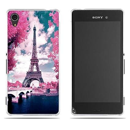 FUBAODA Funda Carcasa para Sony Xperia M4 Aqua, Gel de Silicona TPU, Diseño Romántico de la Torre Eiffel, Carcasa Protectora de Goma Sony Xperia M4 ...