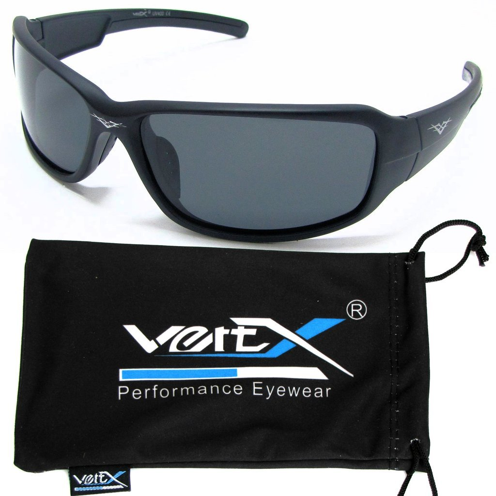 VertX Men's Polarized Sunglasses Sport Cycling Outdoor Free Microfiber Pouch – Matte Black Frame Smoke Lens