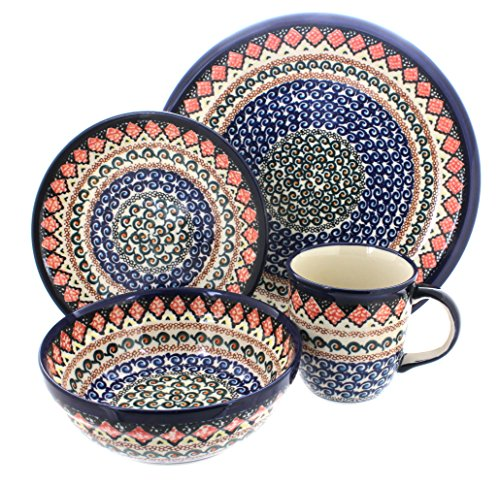 Polish Pottery Blue Horizon 16 Piece Dinner Set