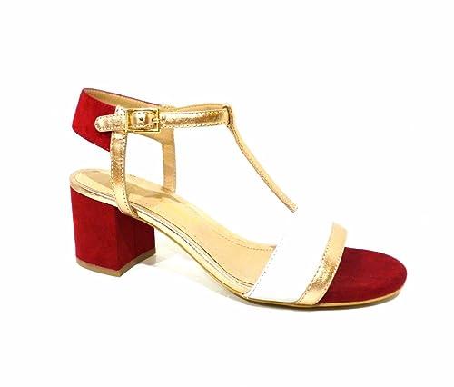238cef80f8eb1 Bruno Premi K0401P sandali donna rossi bianchi oro con cinturino a T e  tacco medio n° 40  Amazon.it  Scarpe e borse