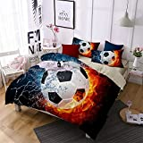 Jameswish 3D Football Duvet Cover Set World Cup Children Soccer Bed Cover Heavy-Duty Comfortable Fabric Bed Linen 1Duvet Cover 1Flat Sheet 2Pillowshams King Size