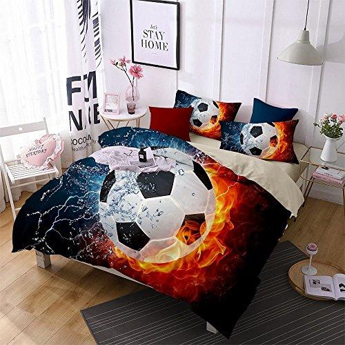 Jameswish 3D Football Duvet Cover Set World Cup Children Soccer Bed Cover Heavy-Duty Comfortable Fabric Bed Linen 1Duvet Cover 1Flat Sheet 2Pillowshams King Size by Jameswish