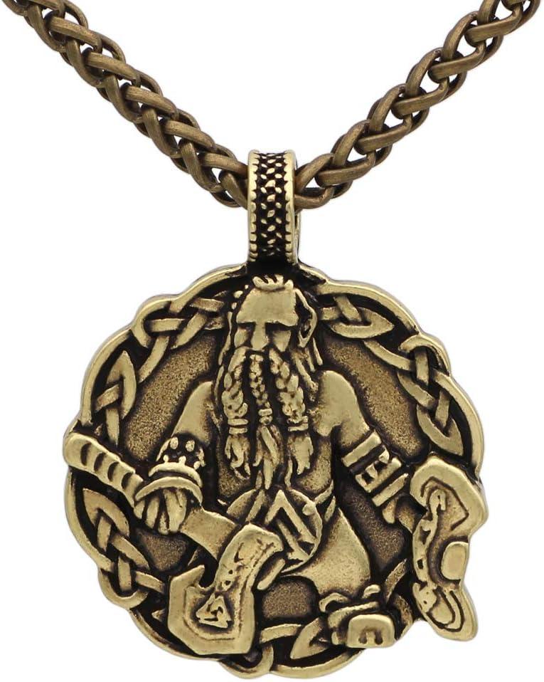 NICEWL Hombres Amuleto Vikingo Odin con Hacha Collar Colgante,Guerrero Nórdico Nudo Celta Talismán Joyería,Mitología Nórdica Hecha A Mano Accesorios Paganos