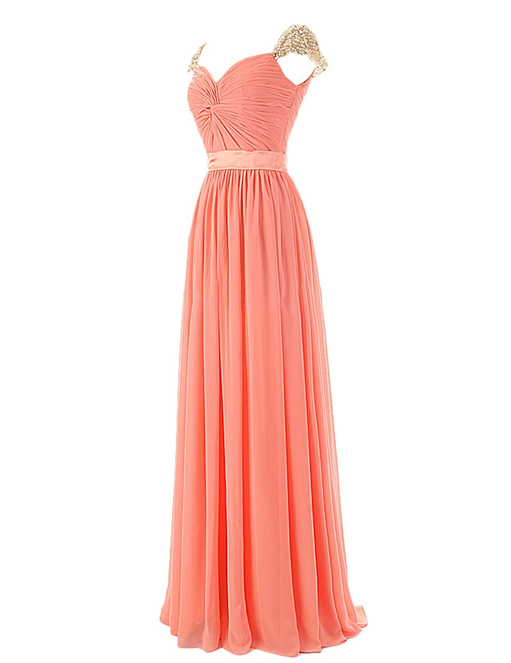 Dresstells Ruffles Off The Shoulder Evening Party Formal Prom Dress Pearls Empire Long Chiffon Dress: Amazon.co.uk: Clothing