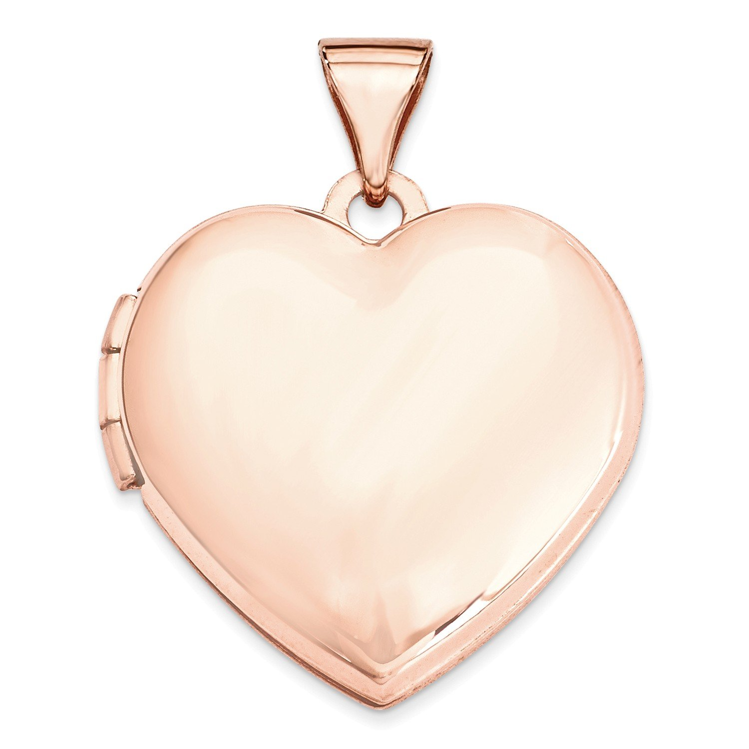 Roy Rose Jewelry 14K Rose Gold 18mm Domed Heart Locket by Roy Rose Jewelry