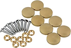 BQLZR 20mm Dia Golden Decorative Mirror Table Brass Round Screw Cap Nails Home Decor Wardrobes Furniture Fittings Pack of 8