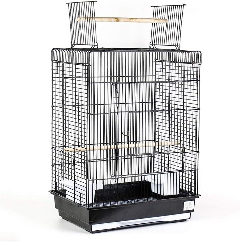 DAGUAI Jaula de pájaros Metal Abierto Abra la Jaula de pájaros Grande para los Budgies Lovebirds Finches Cockatiels Canarias Loros Cae Parakeets Travel Bird Cause Pet House (Color : Black)
