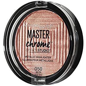 Maybelline Makeup Master Chrome Metallic Face Highlighter, Molten Rose Gold Bronzing Powder, 0.24 oz